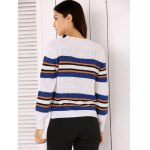 best Round Neck Long Sleeve Stripe Colorful Embroidered Sweater