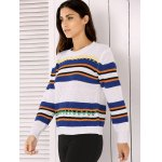 Round Neck Long Sleeve Stripe Colorful Embroidered Sweater for sale