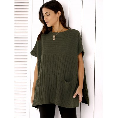 Round Neck Slit Loose Ribbed Cape Sweater