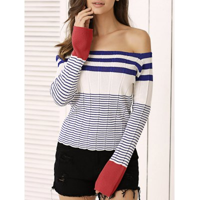 Striped Off-The-Shoulder Knitted Top