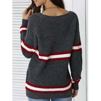 Hit Color Striped Pullover Sweater