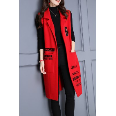 Lapel Sleeveless Letter Pattern Long Cardigan