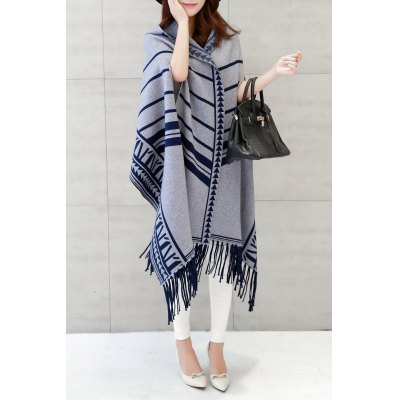 Hooded Printed Fringe Cape Cardigan