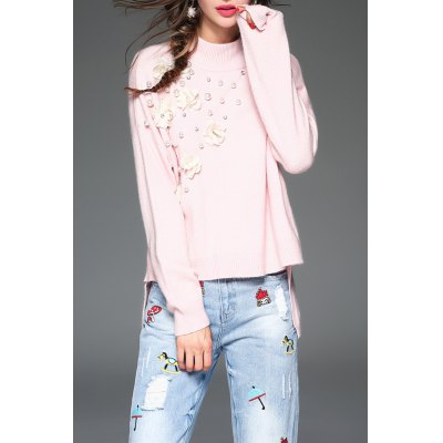 3D Flower Beaded High Low Sweater