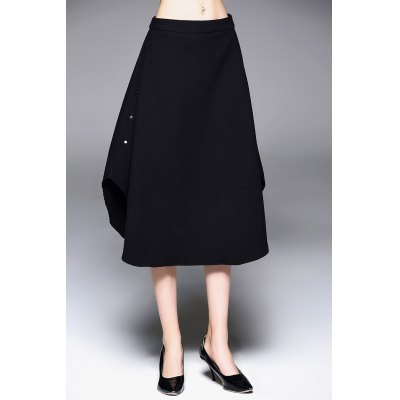 A Line Riveted Midi Skirt