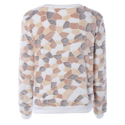 Color Block Long Sleeves Fleece Sweatshirt  $16.36