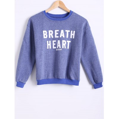 Round Neck Long Sleeve Letter Printed Fleece Sweatshirt