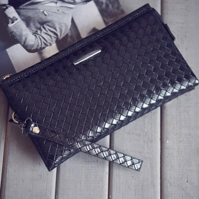 Casual Metal and Weaving Design Wallet For Men