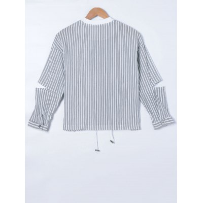 Ripped Long Sleeve Striped Jacket