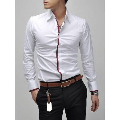 Turn-Down Collar Long Sleeve White ShirtMens Shirts<br>Turn-Down Collar Long Sleeve White Shirt<br><br>Collar: Turn-down Collar<br>Material: Cotton, Polyester<br>Package Contents: 1 x Shirt<br>Shirts Type: Casual Shirts<br>Sleeve Length: Full<br>Weight: 0.2040kg