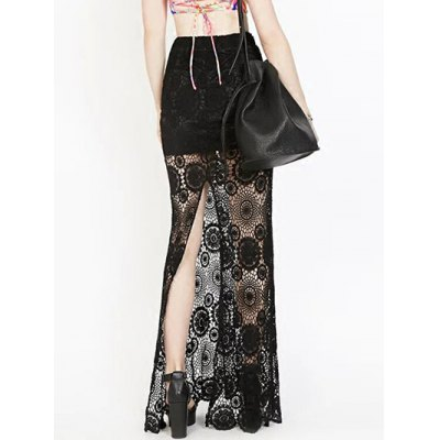 High Waist See-Through Lace Bodycon Skirt