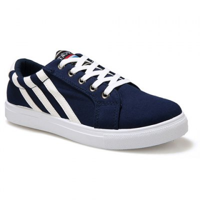 Casual Stripe and Lace-Up Design Canvas Shoes For Men