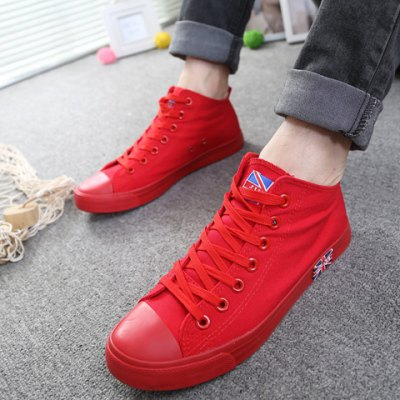 Casual Solid Color and Mid Top Design Canvas Shoes For Men