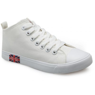 Casual Solid Color and Mid Top Design Canvas Shoes For Women