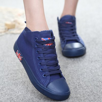 ФОТО Casual Solid Color and Mid Top Design Canvas Shoes For Women