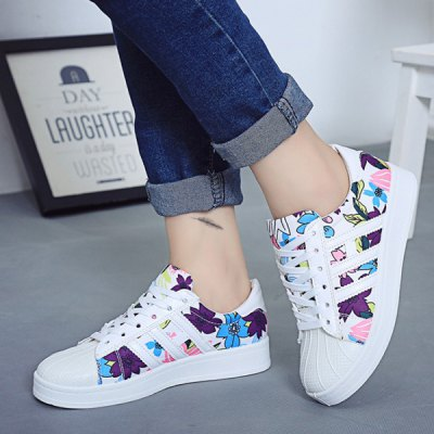 Lace-Up Floral Printed Design Sneakers