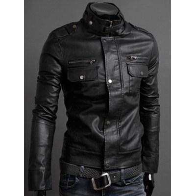 Pockets Design Long Sleeve PU Leather JacketMens Jackets &amp; Coats<br>Pockets Design Long Sleeve PU Leather Jacket<br><br>Clothes Type: Jackets<br>Clothing Length: Regular<br>Collar: Stand Collar<br>Material: Polyester, Faux Leather<br>Package Contents: 1 x Jacket<br>Season: Fall, Spring<br>Sleeve Length: Long Sleeves<br>Style: Fashion<br>Weight: 0.960kg
