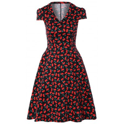 V-Neck Cherry Fit and Flare Dress