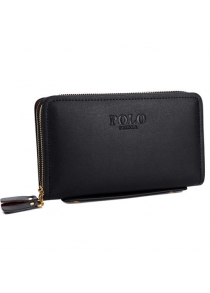Stylish Dark Color and Double Zipper Design Wallet For Men