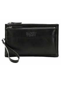 Leisure PU Leather and Double Zipper Design Wallet For Men