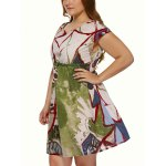 Plus Size Short Sleeve Wash Painting Mini Dress deal