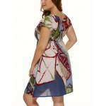 Plus Size Short Sleeve Wash Painting Mini Dress for sale
