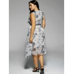 Plus Size Flowers Print Sleeveless Midi Dress for sale
