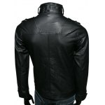 Stand Collar Epaulet Design Multi-Pockets Long Sleeve PU-Leather Jacket deal