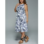 Plus Size Floral Print Sleeveless Midi Dress for sale