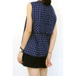 cheap Loose Fitting V Neck Checked Tank Top