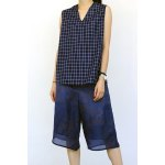 Loose Fitting V Neck Checked Tank Top