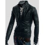 cheap Zippers Design Long Sleeve PU Leather Jacket