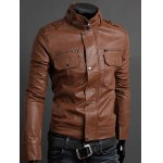 cheap Pockets Design Long Sleeve PU Leather Jacket