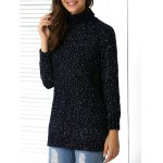 Heather Ribbed Hem Turtle Neck Sweater
