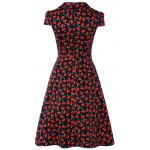 cheap Vintage V-Neck Cherry Print Fit and Flare Dress