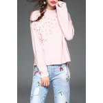 Beaded 3D Flower High Low Sweater
