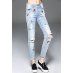 Cartoon Embroidered Ripped Jeans deal