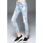 Cartoon Embroidered Ripped Jeans for sale