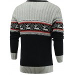 cheap Color Blocks Spliced Elk Knitted Sweater