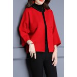 Round Collar Candy Color Bat Sleeved Cardigan deal