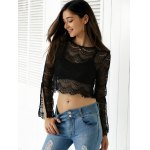 Slit Bell Sleeve See-Through Lace Crop Top for sale