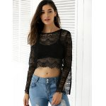 Slit Bell Sleeve See-Through Lace Crop Top deal