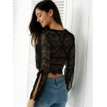 best Slit Bell Sleeve See-Through Lace Crop Top