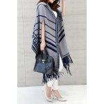 Hooded Printed Fringed Cape Cardigan deal