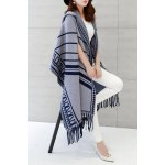best Hooded Printed Fringed Cape Cardigan