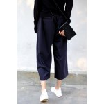 cheap Cropped Wide Leg Wool Pants