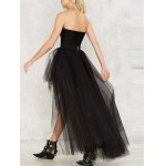 High Waist Voile Spliced High-Low Ball Gown Skirt for sale