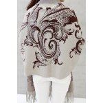 cheap Printed Fringed Cape Cardigan