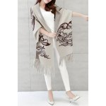 Printed Fringed Cape Cardigan deal