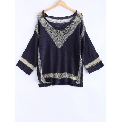 Fashionable Loose-Fitting Hit Color Women's Knitwear